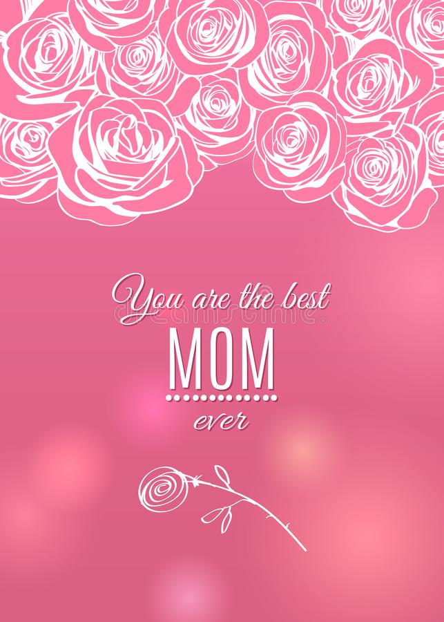 Happy Mother`s Day pink greeting card with rose flowers frame border royalty free illustration