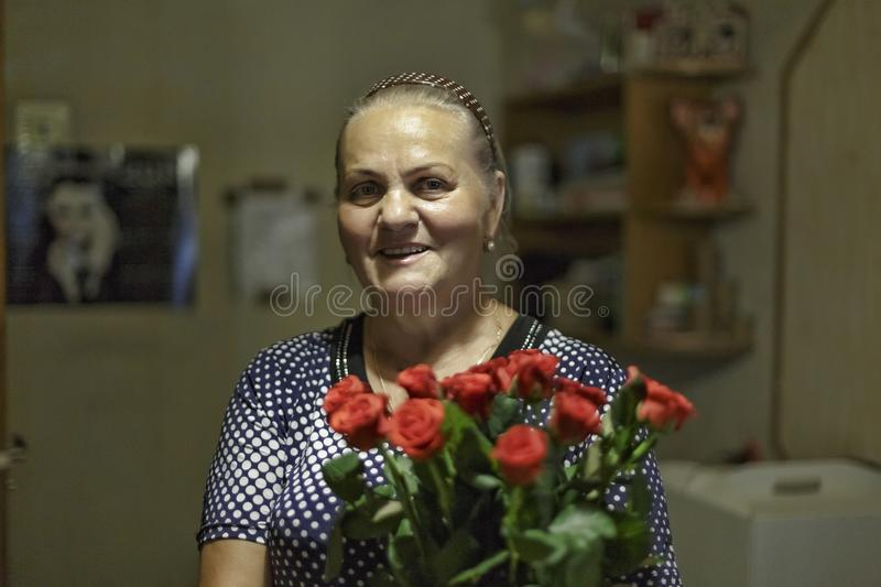Happy Mother`s Day. happy, portrait, woman, face, female, beautiful, lady, beauty, bouquet, Beauty, fashion. Happy retirement. royalty free stock images
