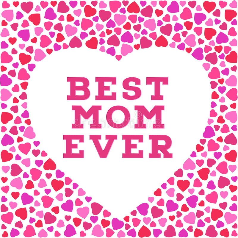 Happy Mothers Day Postcard With Stylized Heart Symbols Best Mom