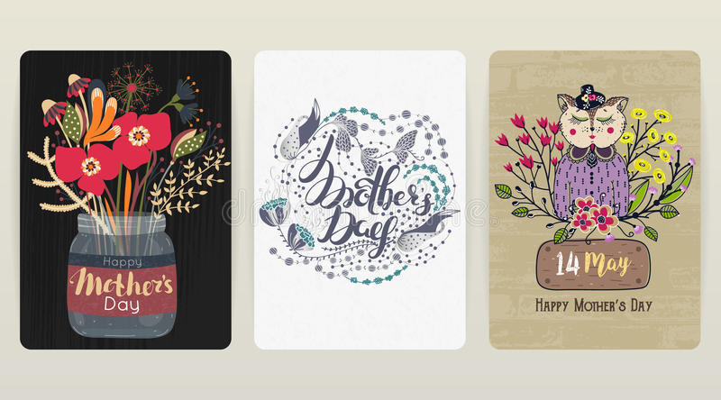 Happy Mother`s day. Set of 3 colorful congratulatory backgrounds. Spring holiday royalty free illustration