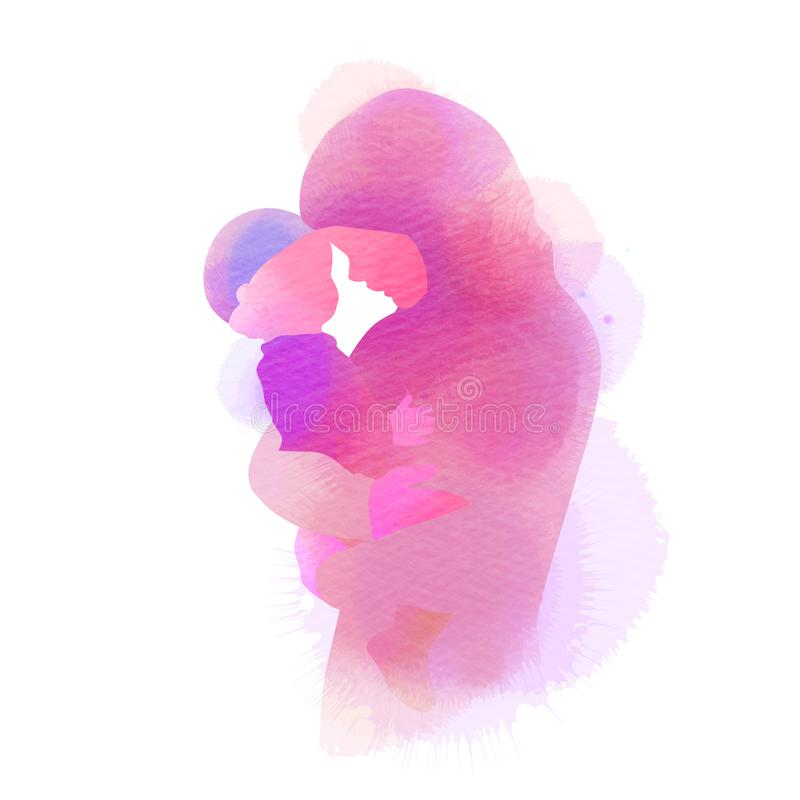 Happy mother`s day. Side view of Happy Muslim mom with her baby  silhouette plus abstract watercolor painted. Muslim mama with he royalty free illustration