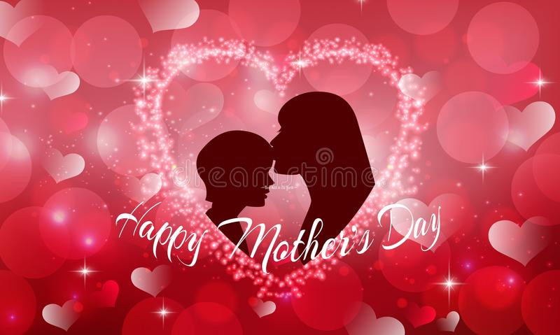 Happy Mother's Day with Silhouette of a mother and child. Illustration of Happy Mother's Day with Silhouette of a mother and child vector illustration