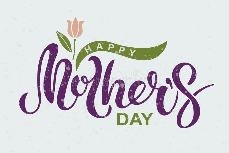 Happy Mother`s Day text isolated on textured background. vector illustration