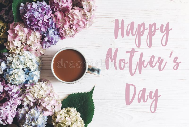 Happy Mother`s Day text sign at beautiful hydrangea flowers and coffee cup on rustic white wooden table, flat lay. Colorful pink, royalty free stock photography