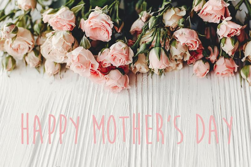 Happy Mother`s Day text sign at pink small roses on wooden background, space for text. Tender Flower border, Floral greeting card royalty free stock images