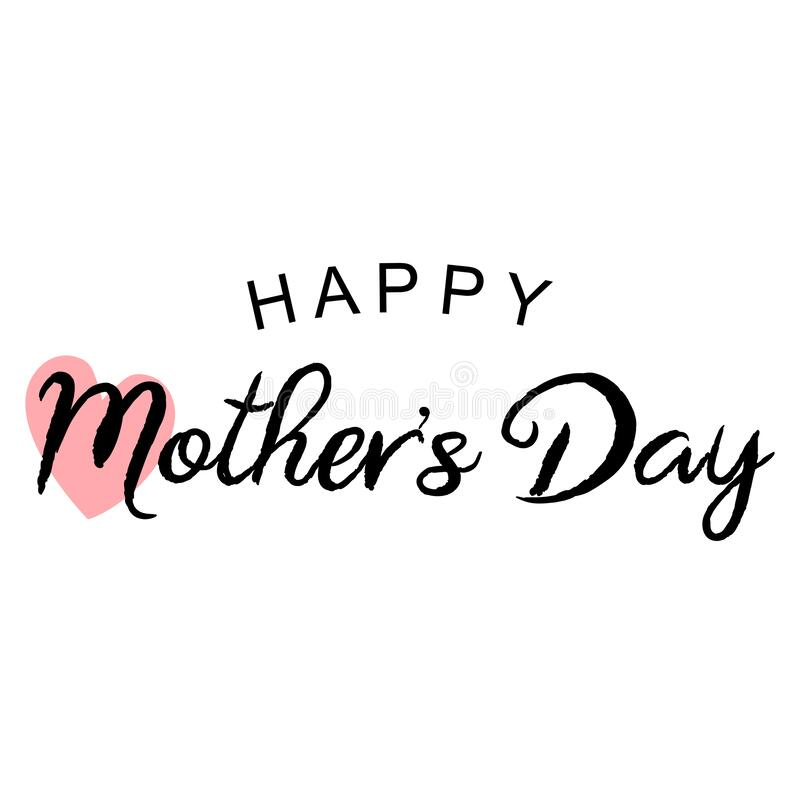 Free Happy Mother`s Day Tipography With Heart Stock Image - 174478631