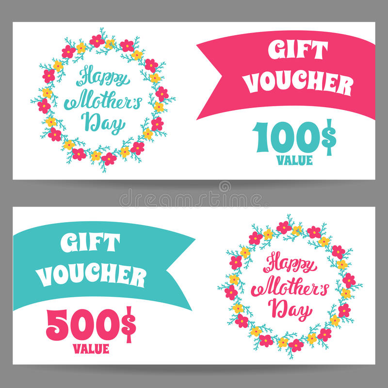 Happy Mother\'s Day. Vector Set Gift Vouchers Template With Greeting ...