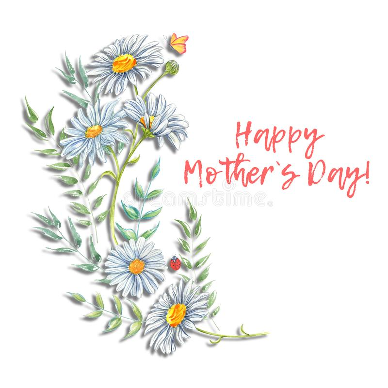 Happy Mothers Day. Watercolor floral frames illustration. stock illustration