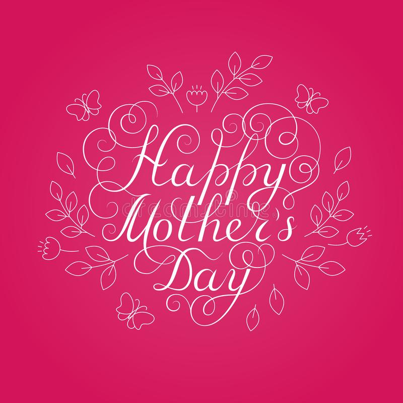 Happy Mother`s Day. White ink calligraphy on pink background. Heart shape. Used for greeting card, poster design. Hand drawn royalty free illustration
