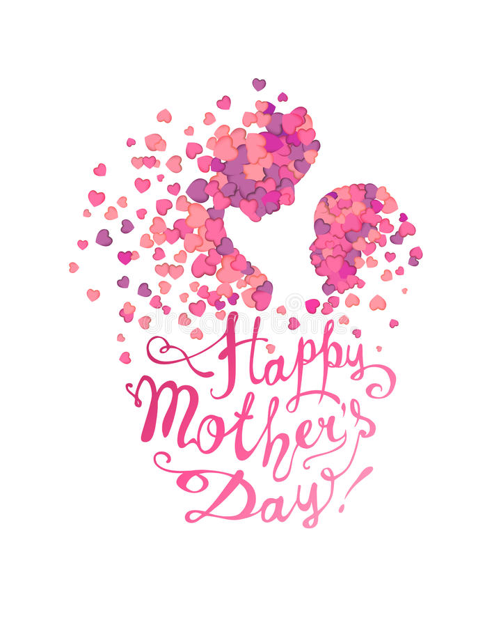 Happy Mother`s Day! Woman and baby of hearts. Happy Mother`s Day! Woman and baby made of hearts royalty free illustration