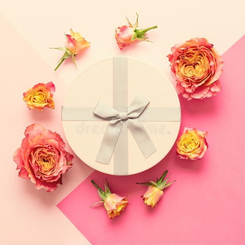 Happy Mother`s Day, Women`s Day, Valentine`s Day or Birthday Living Coral and Pastel Pink Background. Flat lay greeting card. Happy Mother`s Day, Women`s Day stock images