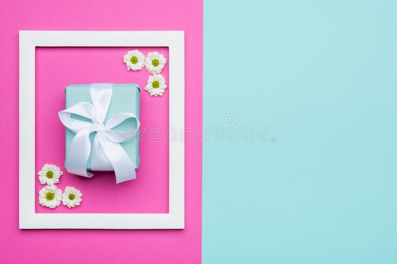 Happy Mother`s Day, Women`s Day, Valentine`s Day or Birthday Pastel Blue and Pink Candy Colour Background. Floral flat lay. Happy Mother`s Day, Women`s Day royalty free stock photography