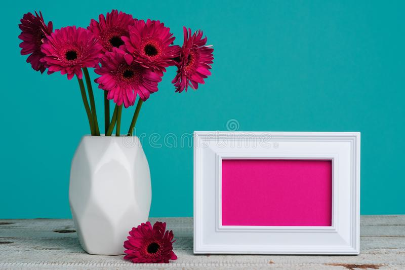 Happy Mother`s Day, Women`s Day, Valentine`s Day or Birthday Pastel Candy Blue Coloured Background. Dark pink gerberas in a vase. stock image