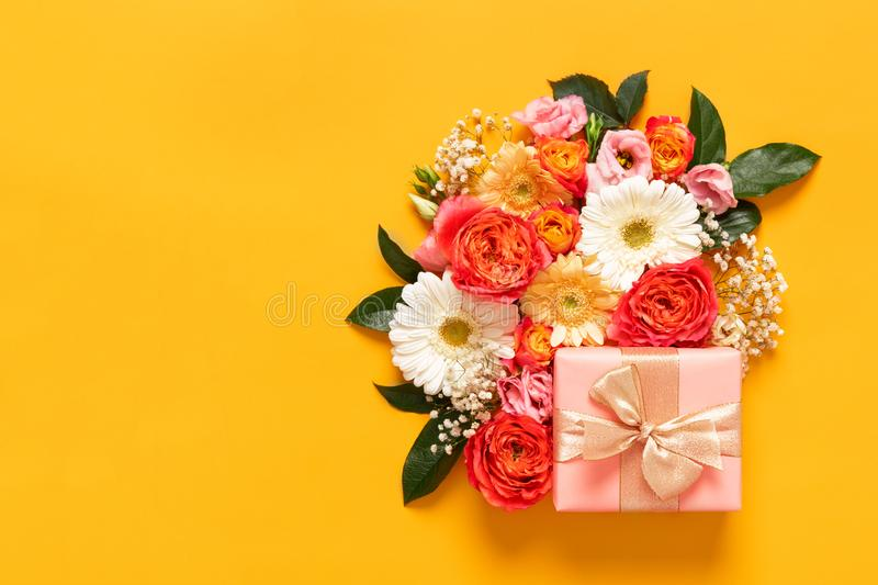 Happy Mother`s Day, Women`s Day, Valentine`s Day or Birthday Pastel Candy Colors Background. Floral flat lay greeting card. stock images
