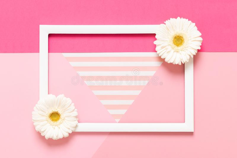 Happy Mother`s Day, Women`s Day, Valentine`s Day or Birthday Pastel Pink Background. Flat lay mock up greeting card with flowers. Happy Mother`s Day, Women`s royalty free stock images