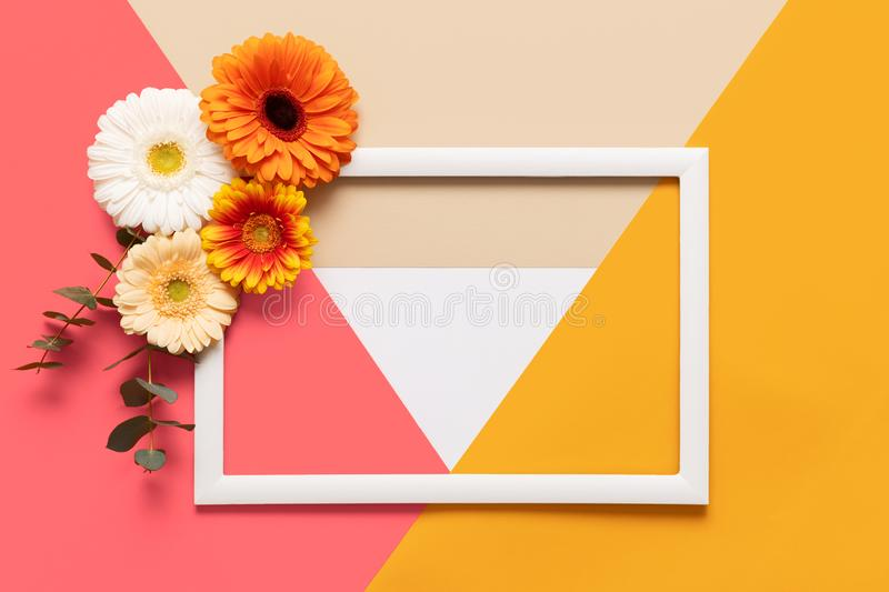 Happy Mother`s Day, Women`s Day, Valentine`s Day or Birthday Living Coral Pantone Color Background. Coral flat lay greeting card. Happy Mother`s Day, Women`s stock photo