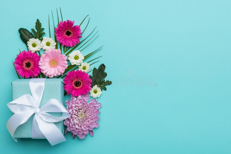 Happy Mother`s Day, Women`s Day, Valentine`s Day or Birthday Pastel Candy Colours Background. Floral flat lay greeting card stock images