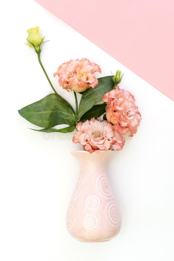 Happy Mother`s Day, Women`s Day, Valentine`s Day or Birthday Pastel Candy Colours Background. Floral flat lay minimalism geomet stock photos