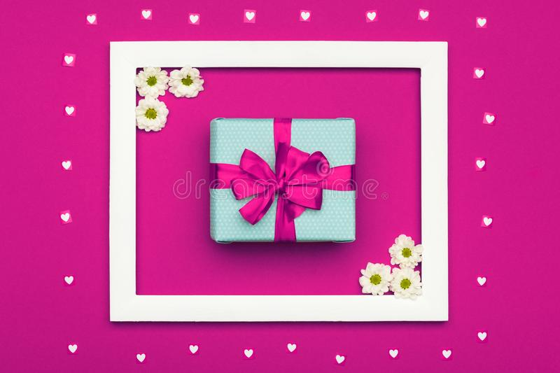 Happy Mother`s Day, Women`s Day, Valentine`s Day or Birthday Pastel Candy Colours Background. Pink floral flat lay. Happy Mother`s Day, Women`s Day, Valentine`s royalty free stock images