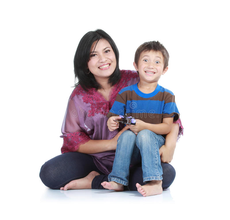 Happy Mother With Smiling Boy Stock Photo