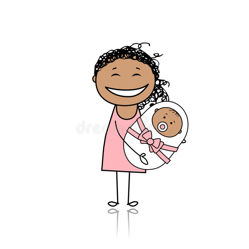 Download Happy Mother Smiling With Newborn Baby Stock Vector - Illustration of infant, cute: 18011193