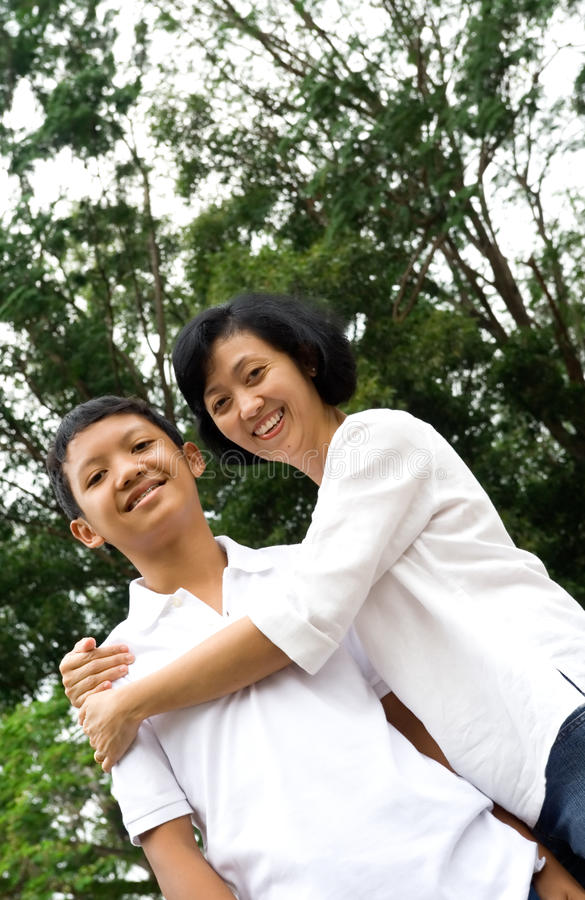 Happy mother and son stock image