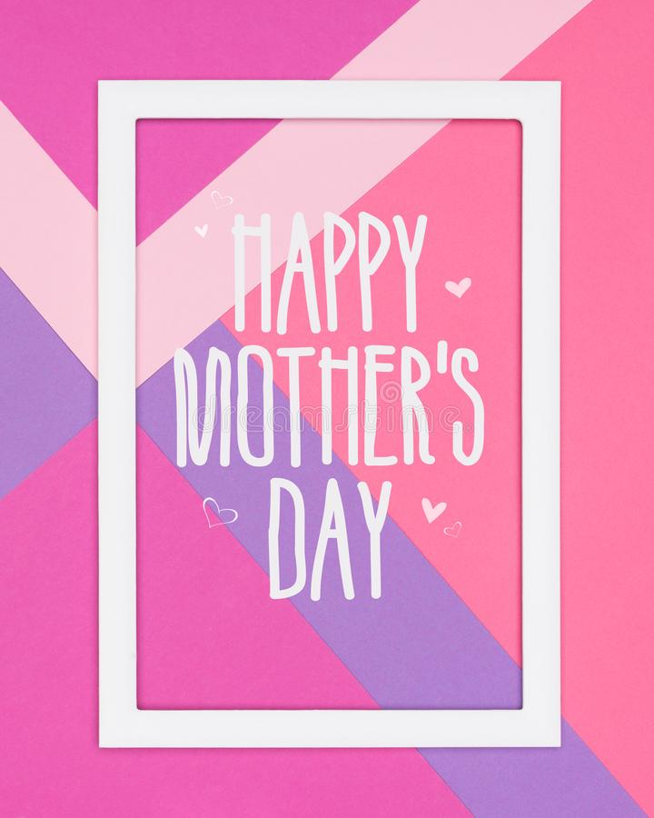 Happy Mothers Day abstract geometrical pastel pink and ultra violet paper flat lay background. Minimalism greeting card. stock photography