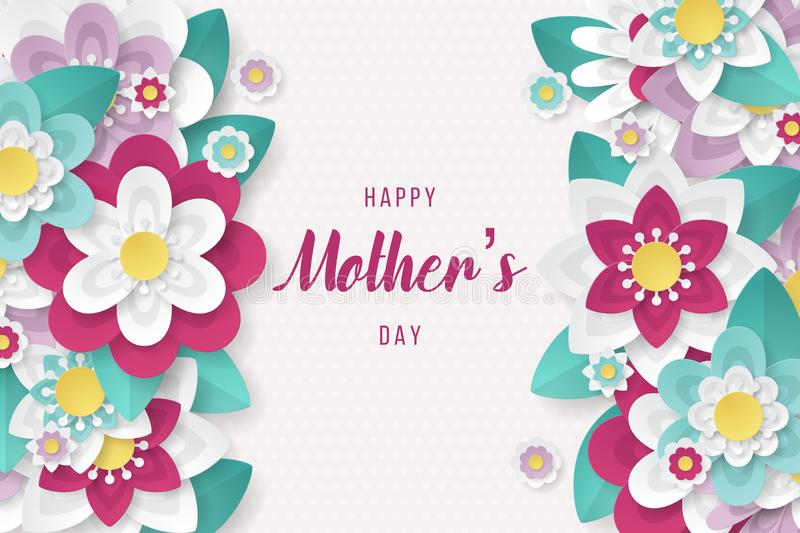 Happy Mothers Day background with beautiful paper cut flowers vector illustration