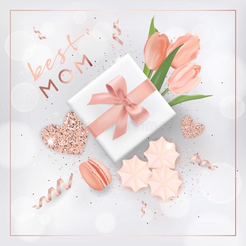 Happy Mothers Day Banner with Flowers. Mother Day Design with Golden Glitter Elements, Gift Box for Greeting Card, Flyer vector illustration