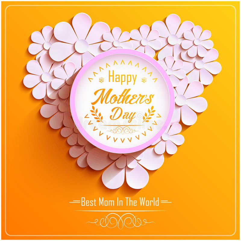 Happy Mothers Day with beautiful Bright round frame with pink 3d flowers chamomile stock illustration
