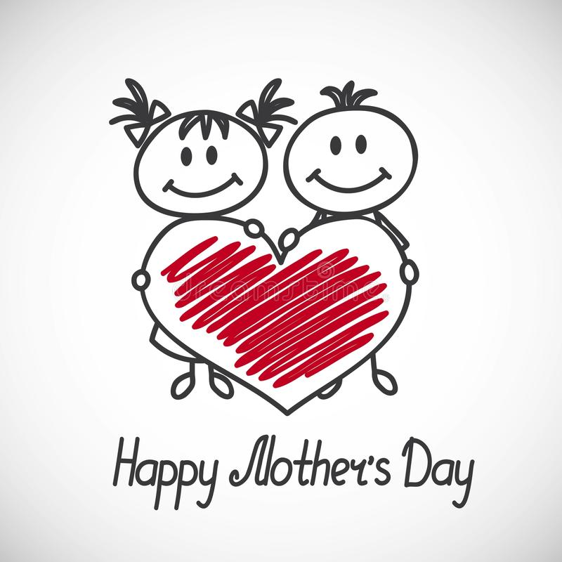 Happy mothers day card. Boy and girl with big heart (cartoon doodle). Happy mothers day card royalty free illustration