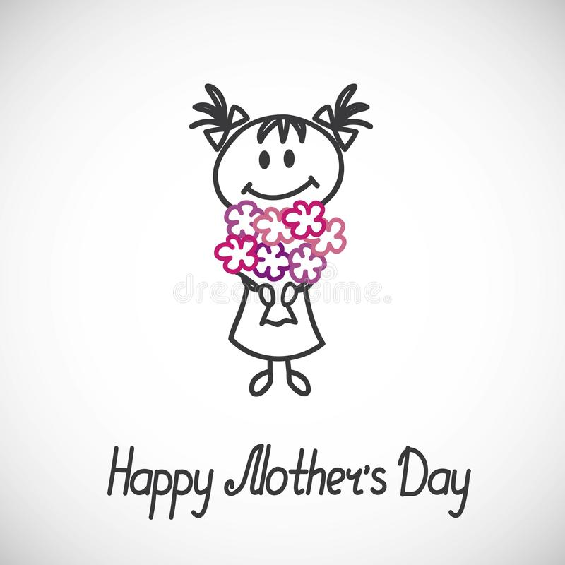 Happy mothers day card. Girl with a bouquet of flowers (cartoon doodle).Happy mothers day card stock illustration