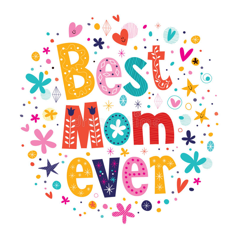 Free Happy Mothers Day Card Hand Made Retro Typography Best Mom Ever Stock Images - 44403714