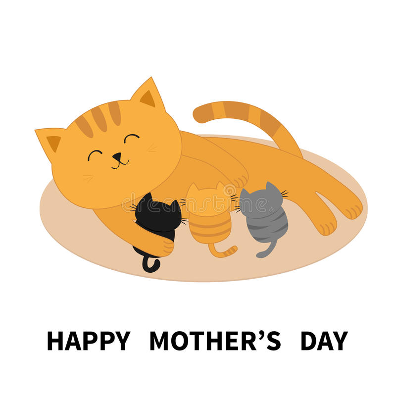 Happy Mothers Day. Cat feeding kittens. Mom kitty laying on the floor and nursing little cats. Milk feed. Breastfeeding pet animal. Cute cartoon character Flat royalty free illustration