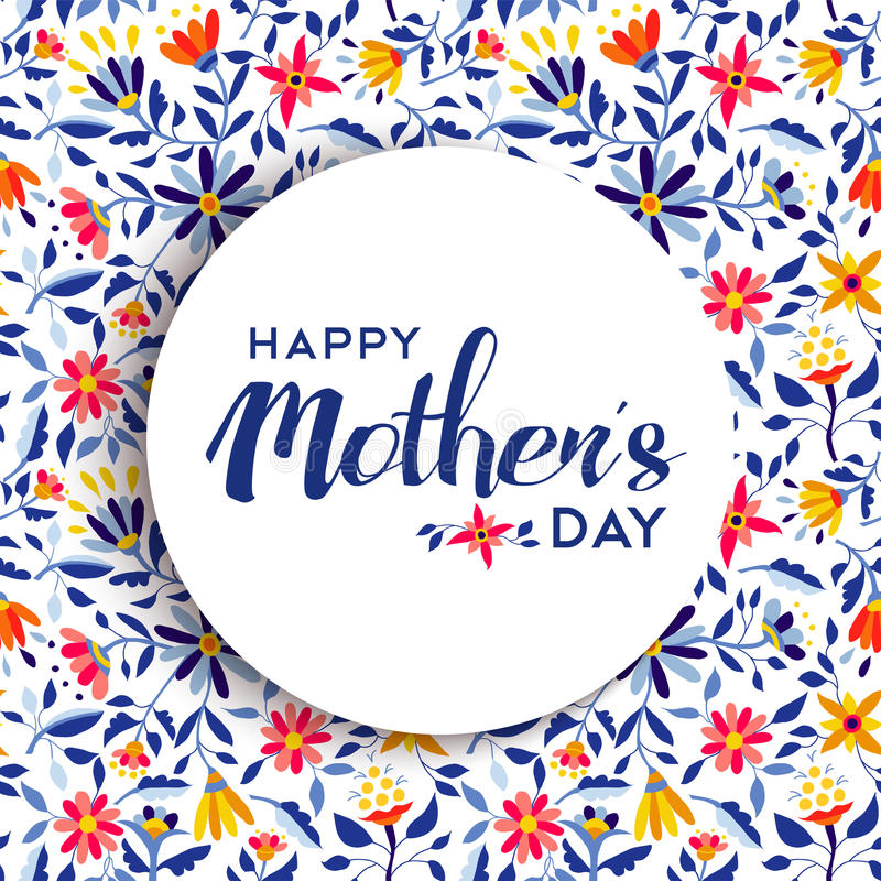 Happy mothers day floral background poster design royalty free stock photography