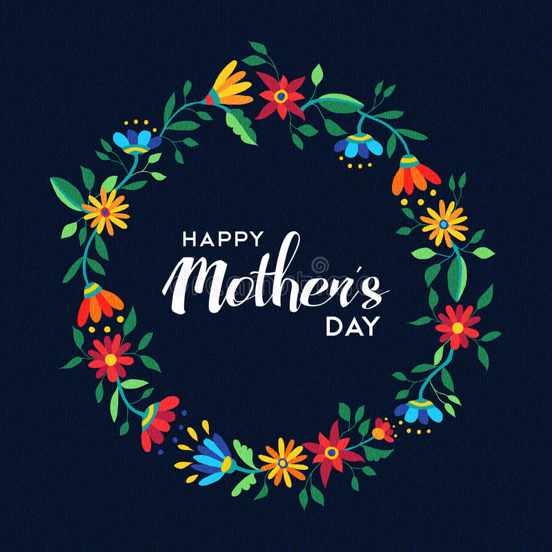 Happy mothers day flower wreath illustration royalty free stock images