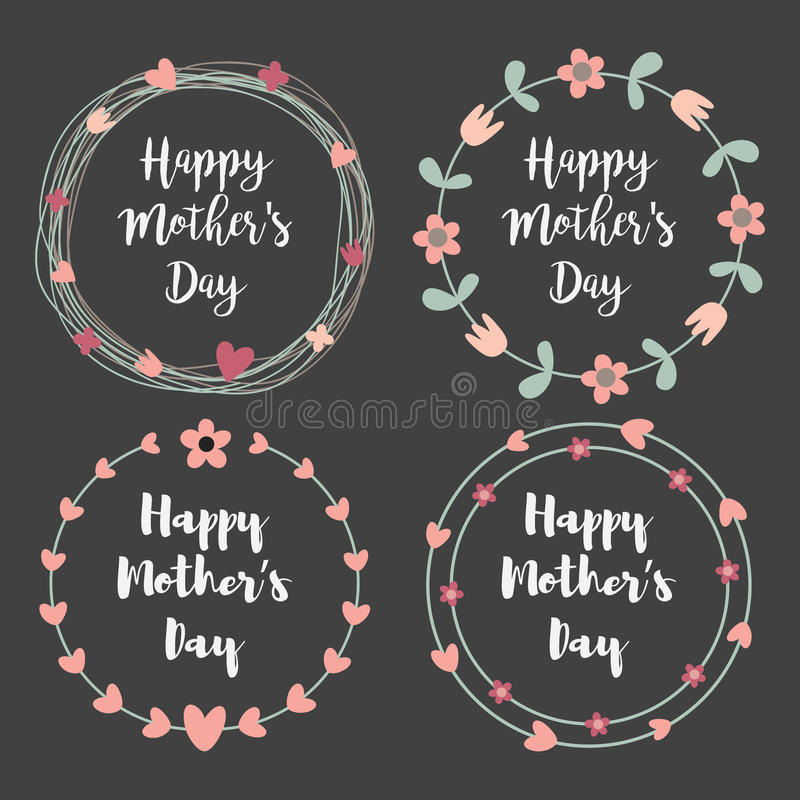Happy Mothers Day with flowers greeting card set. Laurel wreath, Floral wreath. Vector illustration. royalty free illustration