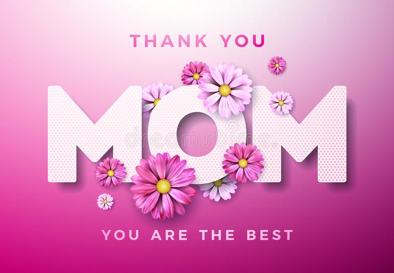 Happy Mothers Day Greeting card design with flower and Thank You Mom typographic elements on pink background. Vector vector illustration
