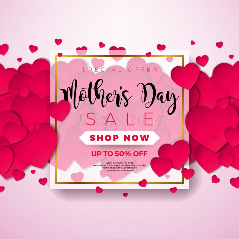Happy Mothers Day Greeting card with hearth on pink background. Vector Celebration Illustration template with. Typographic design for banner, flyer, invitation vector illustration