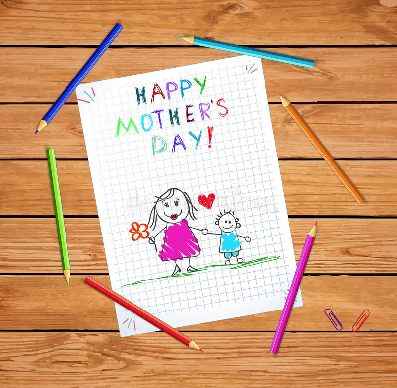 Happy Mothers Day Greeting Card of Mom and Son. Happy Mothers Day Baby Hand Drawn Illustration of Mother Hold Hands with Son on Checkered Notebook Sheet or stock illustration