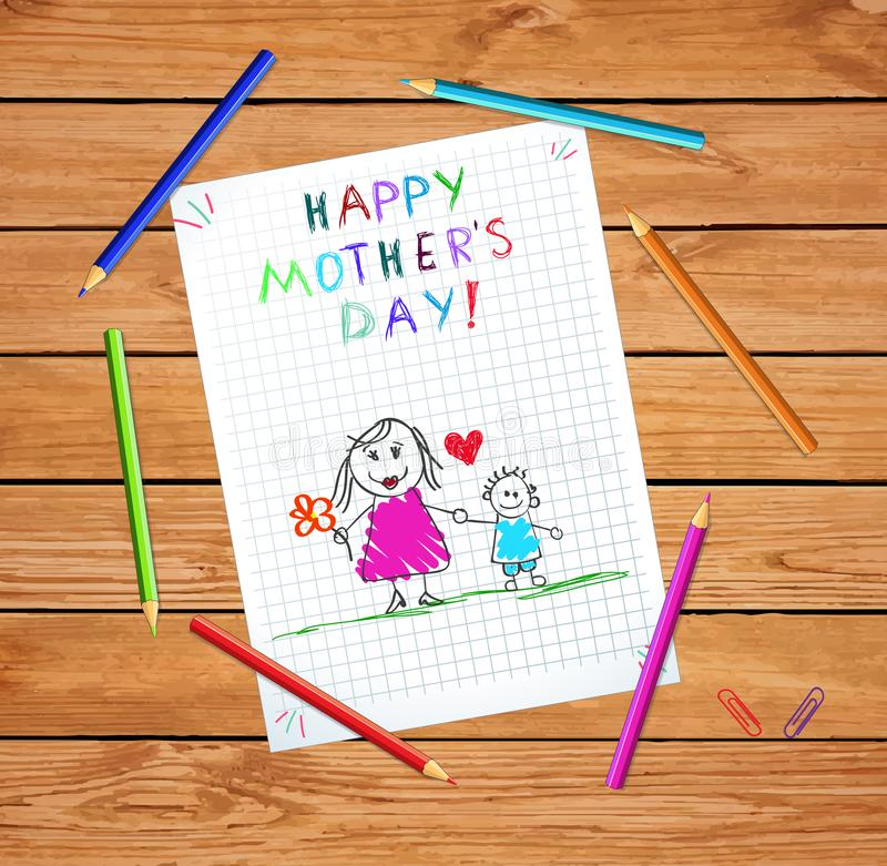 Happy Mothers Day Greeting Card of Mom and Son. Happy Mothers Day Baby Hand Drawn Illustration of Mother Hold Hands with Son on Checkered Notebook Sheet or vector illustration