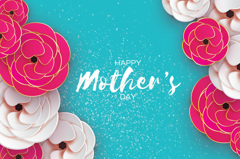 Happy Mothers Day Greeting card. Women`s Day. Paper cut pink gold flower. Origami Beautiful bouquet. Space for text. Happy Mothers Day. Gold Pink Floral stock illustration