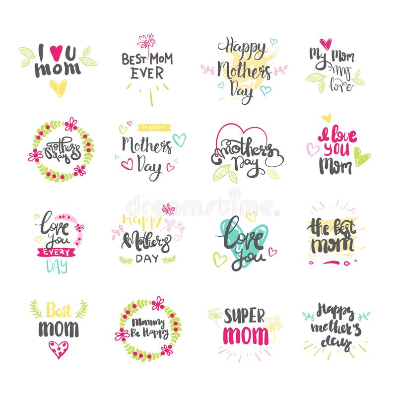 Happy Mothers Day Hand Drawn Lettering Collection For Greeting Card Isolated On White Background stock illustration