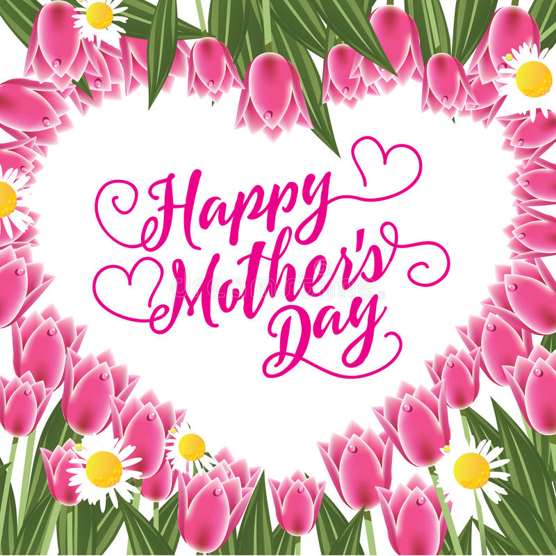Happy Mothers Day heart design stock illustration