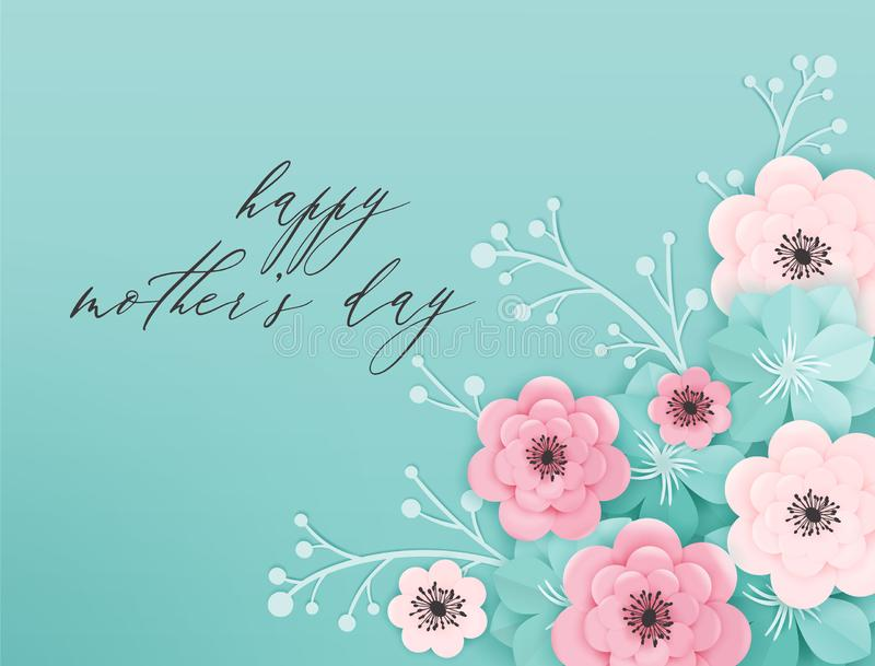 Happy Mothers Day Holiday Banner. Mother Day Greeting Card Hello Spring Paper Cut Design with Flowers and Floral Elements Poster stock illustration