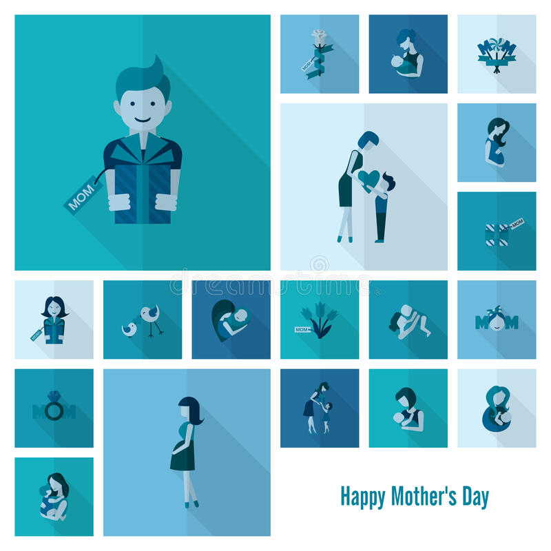 Happy Mothers Day Icons. Happy Mothers Day Simple Flat Icons. Vector, Clean Work, Minimum Points royalty free illustration