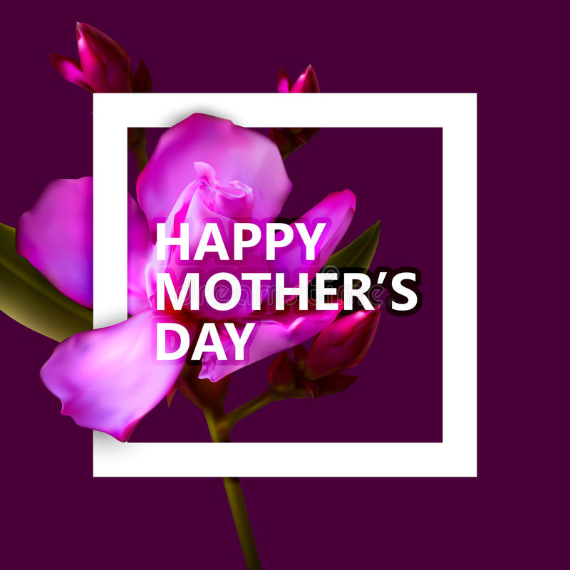 Happy Mothers Day label with white square frame and flowers royalty free illustration