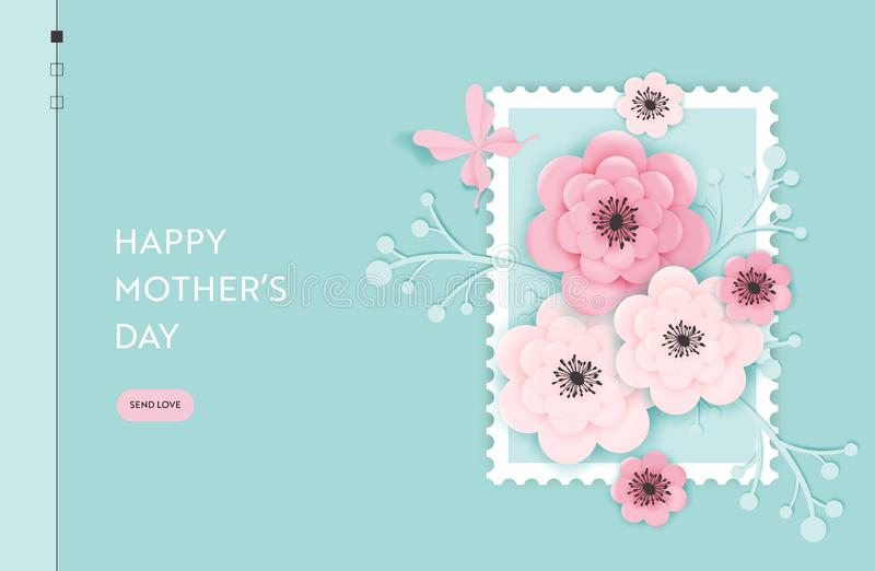 Happy Mothers Day Landing Page Template. Mothers Day Holiday Web Banner with Paper Cut Flowers for Flyer, Brochure, Website. Spring Sale. Vector illustration vector illustration