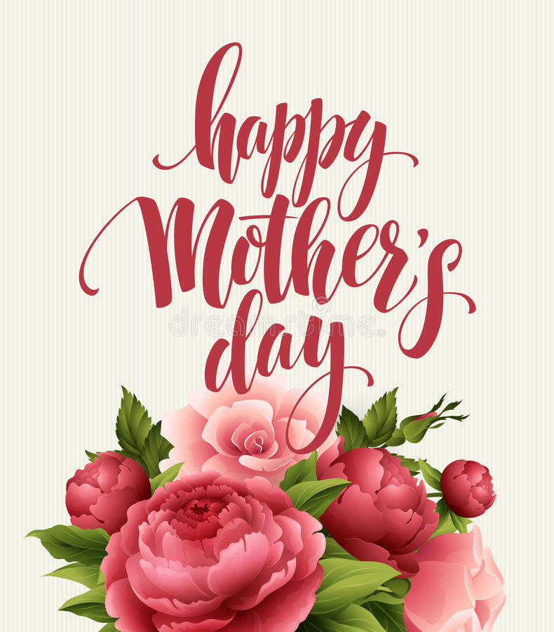 Happy Mothers Day Lettering card. Greetimng card with flower. Vector illustration royalty free illustration