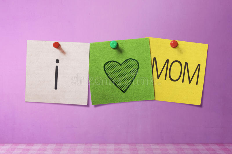 Happy Mothers Day message written on note paper stock image